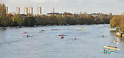 London, Great Britain,   crews marshaling at Chiswick Bridge, at the start of the 2009Veterans Fours of the River Race, raced over the Championship Course, Mortlake to Putney, on the River Thames.   Sunday, 15/11/2008. [Mandatory Credit: Karon Phillips/Intersport Images]