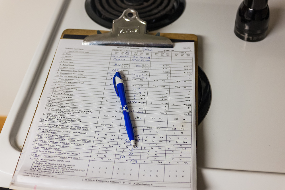 An inspection form from the energy audit at 86 West State Street on Wednesday, June 24, 2015.  Photo by Ohio University  /  Rob Hardin