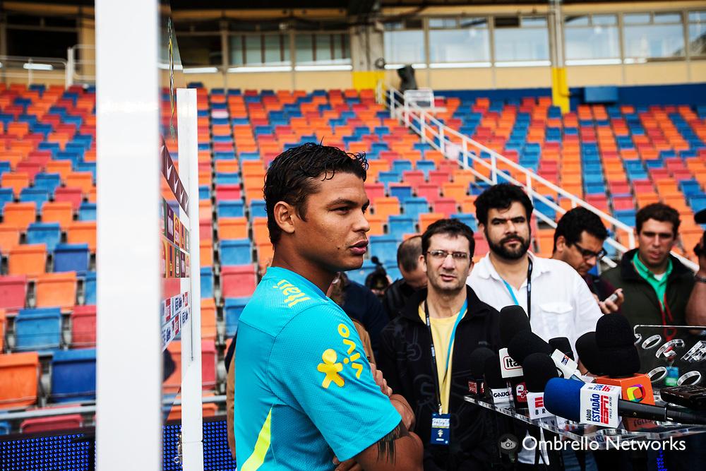 STOCKHOLM 2012-08-14<br /> BRASILIENS LANDSLAG FOTBOLL TR&Auml;NAR P&Aring; R&Aring;SUNDA<br /> Thiago Silva