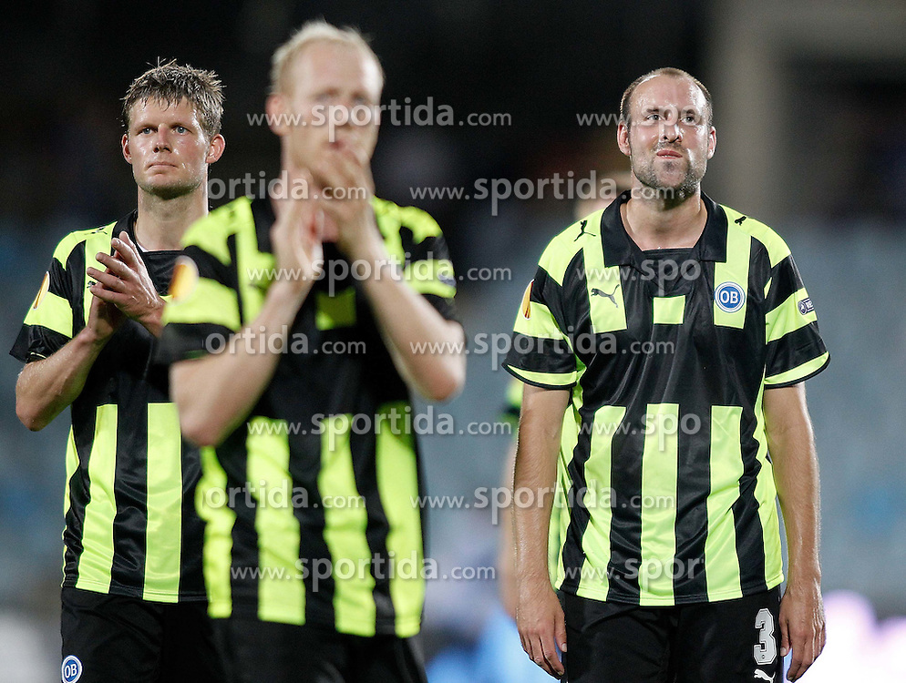 15.09.2010, Coliseum Alfonso Perez, Getafe, ESP, UEFA EL, Getafe vs Odense, im Bild Odense's Chris Sorensen and Atle Roar Haland dejected after Europa League match. EXPA Pictures © 2010, PhotoCredit: EXPA/ Alterphotos/ Alvaro Hernandez +++++ ATTENTION - OUT OF SPAIN / ESP +++++ / SPORTIDA PHOTO AGENCY