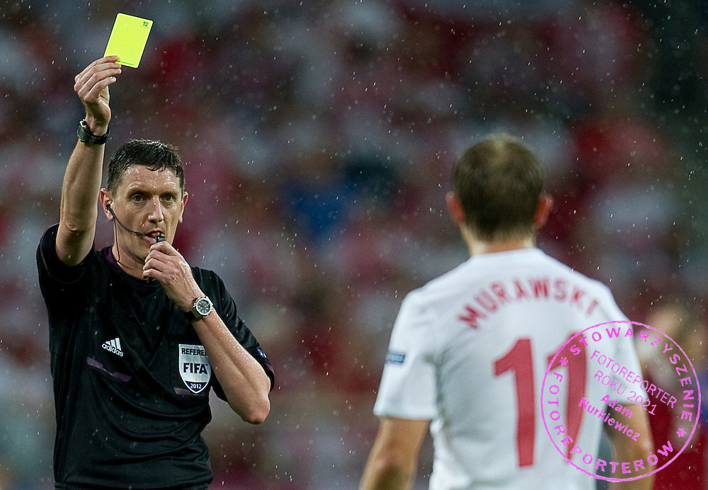 (L) Referee Craig Thomson during the UEFA EURO 2012 Group A football match between Poland and Czech Republic at Municipal Stadium in Wroclaw on June 16, 2012...Poland, Wroclaw, June 16, 2012..Picture also available in RAW (NEF) or TIFF format on special request...For editorial use only. Any commercial or promotional use requires permission...Photo by © Adam Nurkiewicz / Mediasport