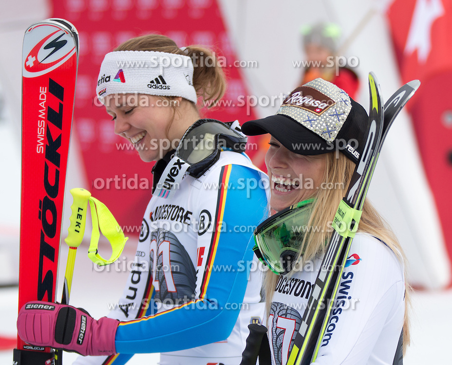 07.02.2016, Kandahar, Garmisch Partenkirchen, GER, FIS Weltcup Ski Alpin, Super G, Damen, im Bild v.l. Viktoria Rebensburg (GER, 2. Platz), Lara Gut (SUI, 1. Platz) // 2nd placed Viktoria Rebensburg of Germany ( L ), winner Lara Gut of Switzerland ( R ) reacts after ladies SuperG of Garmisch FIS Ski Alpine World Cup at the Kandahar course in Garmisch Partenkirchen, Germany on 2016/02/07. EXPA Pictures © 2016, PhotoCredit: EXPA/ Johann Groder