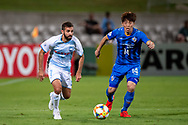 SYDNEY, NSW - MARCH 06: Sydney FC player Michael Zullo (7) and Ulsan Hyundai FC player Kim Bokyung (14) run after the ball at AFC Champions League Soccer between Sydney FC and Ulsan Hyundai FC on March 06, 2019 at Netstrata Jubilee Stadium, NSW. (Photo by Speed Media/Icon Sportswire)
