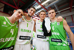 Jan Span, Ziga Dimec, Gezim Morina and Jaka Brodnik during Open day of Slovenian U20 National basketball team before the European Chmpionship in Slovenia, on July 9, 2012 in Domzale, Slovenia.  (Photo by Vid Ponikvar / Sportida.com)