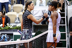 May 30, 2019 - Paris, France - Japan's Naomi Osaka (R) congratulates Belarus' Victoria Azarenka after winning their women's singles second round match on day five of The Roland Garros 2019 French Open tennis tournament in Paris on May 30, 2019. (Credit Image: © Ibrahim Ezzat/NurPhoto via ZUMA Press)