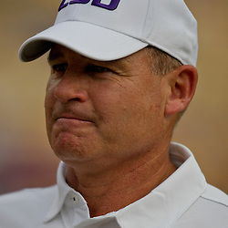 19 September 2009: LSU Tigers head coach Les Miles during warm ups before a 31-3 win by the LSU Tigers over the University of Louisiana-Lafayette Ragin Cajuns at Tiger Stadium in Baton Rouge, Louisiana.