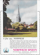 Norwich Union insurance advert with cathedral advertising in Country Life magazine UK 1951