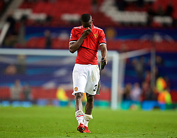 MANCHESTER, ENGLAND - Tuesday, March 13, 2018: Manchester United's Eric Bailly walks off the pitch dejected as his side crash out of Europe losing 1-2 to Sevilla during the UEFA Champions League Round of 16 2nd leg match between Manchester United FC and Sevilla FC at Old Trafford. (Pic by David Rawcliffe/Propaganda)