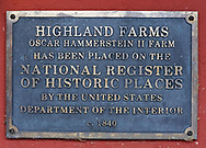 The national historic registry's erroneous plaque, names the farms incorrectly as farms Friday March 24, 2017 at Highland Farm in Doylestown, Pennsylvania. Hammerstein is in the process of raising money to restore the old brand create a Hammerstein museum dedicated to his grandfather, Oscar Hammerstein, writer of the broadway musicals, Sound of Music, King and I, Oklahoma and Carousel to name a few. (WILLIAM THOMAS CAIN / For The Philadelphia Inquirer)