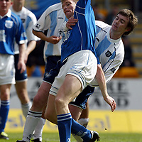 St Johnstone v Dundee   13.04.02<br />Barry Smith holds back Darren Dods<br /><br />Pic by Graeme Hart<br />Copyright Perthshire Picture Agency<br />Tel: 01738 623350 / 07990 594431
