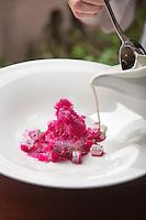 Granizado de pitahaya con crema de pulque.  La Chef Elena reygadas le da el toque final al granizado, crema de pulque./ Chef Elena Reygadas pours pulque cream as a finishing touch.