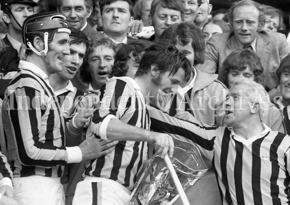 974-19<br /> The Kilkenny Captain holding the cup after the presentation at the end of the All-Ireland Hurling Final.<br /> (Part of the Independent Newspapers Ireland/NLI collection.)
