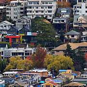 Eastlake houseboat community, eastern shore of Lake Union, vew from Queen Anne Hill, Seattle, Washington