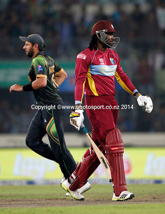 Chris Gayle out - Pakistan v West Indies, Shere Bangla National Stadium, Mirpur, Bangladesh. 1 April 2014. Photo: www.photosport.co.nz
