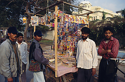Road side comic stall in India with colourful comics on display,
