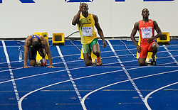 Tyson Gay of United States, Usain Bolt of Jamaica and Daniel Bailey of Antigua and Barbuda at start in the men's 100 Metres Final during day two of the 12th IAAF World Athletics Championships at the Olympic Stadium on August 16, 2009 in Berlin, Germany. (Photo by Vid Ponikvar / Sportida)