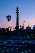 The minaret and mosque of the Hassan Beq mosque in Jaffa, Israel at dawn