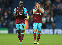 Michail Antonio and Aaron Cresswell of West Ham United applaud the fans - Mandatory by-line: Paul Roberts/JMP - 16/09/2017 - FOOTBALL - The Hawthorns - West Bromwich, England - West Bromwich Albion v West Ham United - Premier League