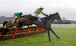 Fine Brunello ridden by Barry Geraghty in the JCB Triumph Trial Juvenile Hurdle during Festival Trials Day at Cheltenham Racecourse.