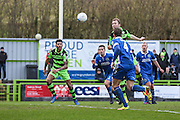 Forest Green Rovers Mark Ellis(5) heads the ball scores a goal 3-0 during the Vanarama National League match between Forest Green Rovers and Macclesfield Town at the New Lawn, Forest Green, United Kingdom on 4 March 2017. Photo by Shane Healey.