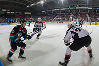 KELOWNA, CANADA - NOVEMBER 28:  Jared Dmytriw #22 of the Vancouver Giants lines up to check Liam Kindree #26 of the Kelowna Rockets during second period on November 28, 2018 at Prospera Place in Kelowna, British Columbia, Canada.  (Photo by Marissa Baecker/Shoot the Breeze)