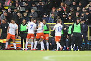 Celebrations as Luton Town forward James Collins scores a goal during the EFL Sky Bet League 1 match between Burton Albion and Luton Town at the Pirelli Stadium, Burton upon Trent, England on 27 April 2019.