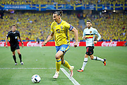 Sweden FW Zlatan Ibrahimović (C) (10) during the Euro 2016 match between Sweden and Belgium at Stade de Nice, Nice, France on 22 June 2016. Photo by Andy Walter.