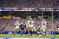 August 23, 2014: New Orleans Saints quarterback Drew Brees (9) passes during a week 3 preseason football game between the Indianapolis Colts vs New Orleans Saints at Lucas Oil Stadium in Indianapolis, IN. NFL American Football Herren USA AUG 23 Preseason - Saints at Colts PUBLICATIONxINxGERxSUIxAUTxHUNxRUSxSWExNORxONLY Icon1408230584<br />