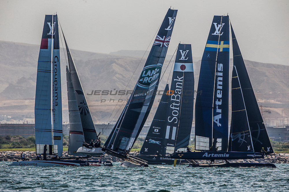 Louis Vuitton America's Cup World Series 2016 Oman. Land Rover BAR,Artemis Racing,SoftBank Team Japan. Muscat ,The Sultanate of Oman.Image licensed to Jesus Renedo/Lloyd images/Oman Sail