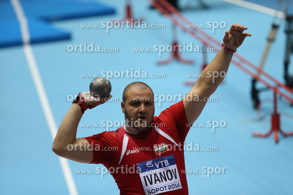 07.03.2014, Ergo Arena, Sopot, POL, IAAF, Leichtathletik Indoor WM, Sopot 2014, Tag 1, im Bild Georgi Ivanov (BUL) competite during the Shot Put qualifications // Georgi Ivanov (BUL) competite during the Shot Put qualifications during day one of IAAF World Indoor Championships Sopot 2014 at the Ergo Arena in Sopot, Poland on 2014/03/07. EXPA Pictures © 2014, PhotoCredit: EXPA/ Newspix/ Michal Fludra<br /> <br /> *****ATTENTION - for AUT, SLO, CRO, SRB, BIH, MAZ, TUR, SUI, SWE only*****