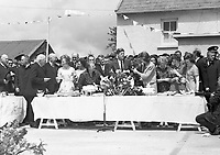 IND95258b<br /> <br /> American President John Fitzgerald Kennedy (J.F.K)'s visit to Ireland, June 1963.<br /> Reception in Wexford.<br /> During his three-day visit to Ireland, US President John F Kennedy meets with his Irish cousins in the barnyard of their mutual forefather's homestead, at Dunganstown, June 27, 1963. <br /> Among those present were: Margaret Kirwan; Eunice Shriver and Jean Smith, the President's sisters; Josephine Ryan; Mary Ryan; JFK; Mary Anne Ryan; Margaret Whitty; and Joan Kirwan.<br /> (Part of the Independent Newspapers ireland/NLI collection.)