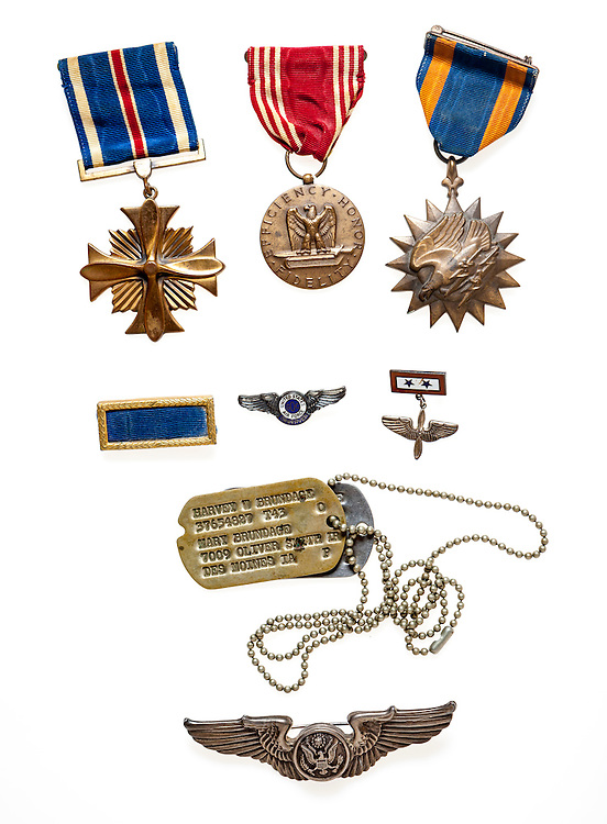 Awards and decorations earned by SSG Harvey Brundage in WWII.