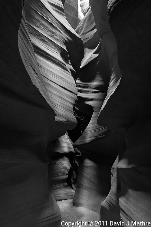 Upper Antelope Canyon, Page Arizona. Image taken with a Nikon D3 camera and 24-70 mm f/2.8 lens (ISO 200, 29 mm, f/16, 2 sec). Image processed with Capture One Pro. Converted to B&W with NIK Silver Efex Pro 2