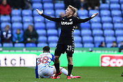 Samuel Saiz (21) of Leeds United has his arms out after being challenged by \Liam Kelly (38) of Reading during the EFL Sky Bet Championship match between Reading and Leeds United at the Madejski Stadium, Reading, England on 10 March 2018. Picture by Graham Hunt.