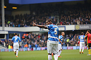 Queens Park Rangers defender and captain, Nedum Onuoha (5) giving thumbs up to away fans during the Sky Bet Championship match between Queens Park Rangers and Birmingham City at the Loftus Road Stadium, London, England on 27 February 2016. Photo by Matthew Redman.