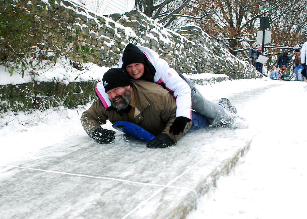 Junior Rachael Chiles and her father Robert Chiles sled down Jeff hill on Sunday of Dad's Weekend 2007
