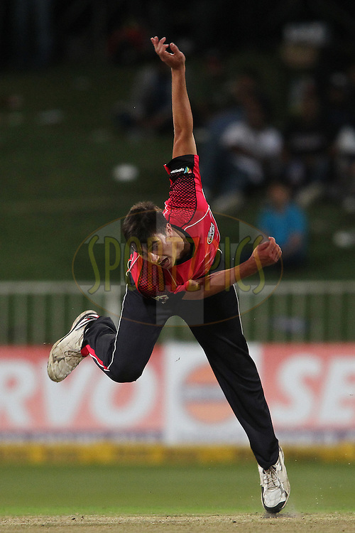 Pat Cummins of the Sydney Sixers sends down a delivery during match 18 of the Karbonn Smart CLT20 South Africa between The Sydney Sixers and The Mumbai Indians held at Kingsmead Park in Durban, South Africa on the 22nd October 2012..Photo by Shaun Roy/SPORTZPICS/CLT20