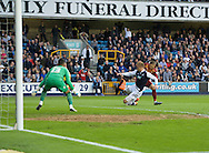 Byron Webster of Millwall throws himself in front of Jamie Proctor of Bradford City to prevent a good chance of scoring during the Sky Bet League 1 Playoff Semi-final Leg Two at The Den, London<br /> Picture by Alan Stanford/Focus Images Ltd +44 7915 056117<br /> 20/05/2016