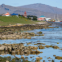 View of the rocky shoreline outside of Stanley, East Falkland Island, Falkland Islands.