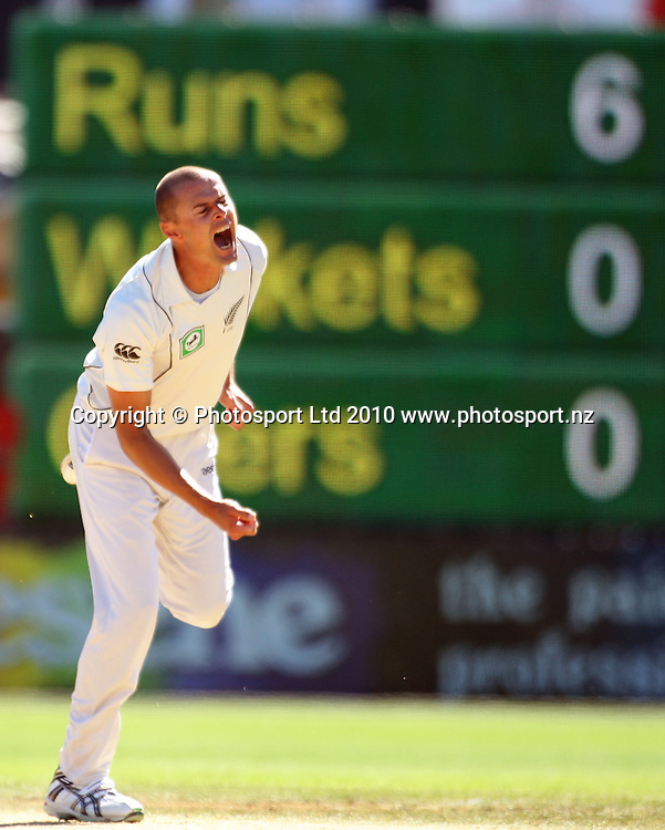 NZ's Chris Martin screams as he concedes a boundary on the last ball of his first over to leak 10 runs.<br /> 1st cricket test match - New Zealand Black Caps v Australia, day five at the Basin Reserve, Wellington. Tuesday, 23 March 2010. Photo: Dave Lintott/PHOTOSPORT