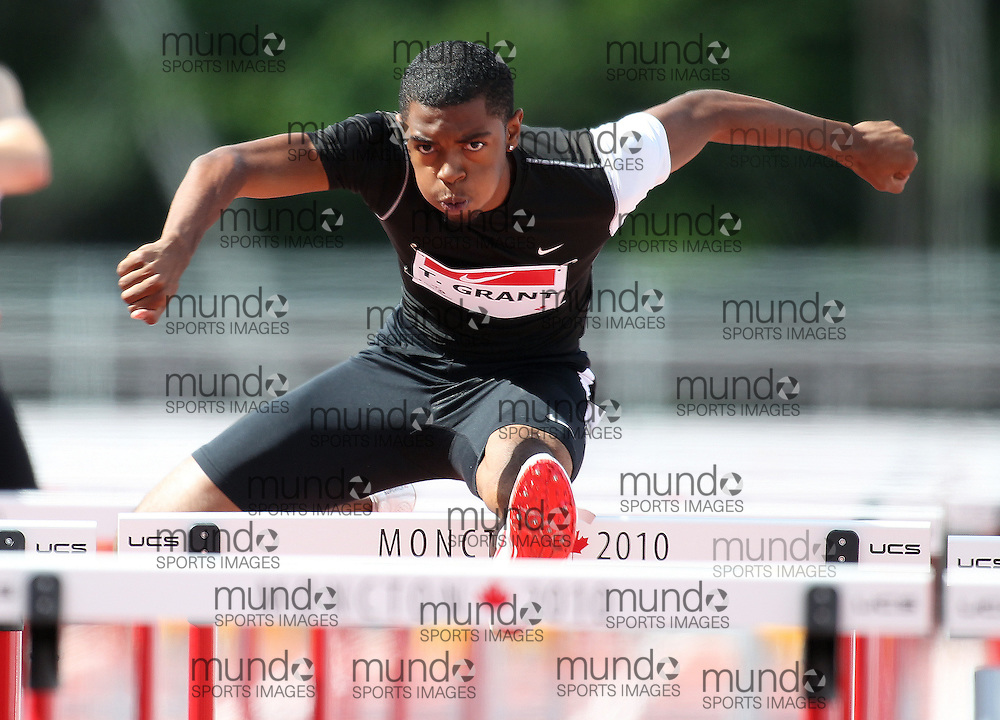 (Moncton,  New Brunswick) --- .Tremaine Grant110H-003_0710CA.jpg at the 2010 Canadian Junior Track and Field championships in Moncton, New Brunswick July 04 ,  2010)... Photograph copyright Claus Andersen / Mundo Sport Images, 2010.