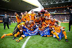 Free to use courtesy of SkyBet. Wolverhampton Wanderers players celebrate at the end of the game after securing automatic promotion from the Sky Bet Championship to the Premier League - Rogan/JMP - 15/04/2018 - Molineux - Wolverhampton, England - Wolverhampton Wanderers v Birmingham City - Sky Bet Championship.