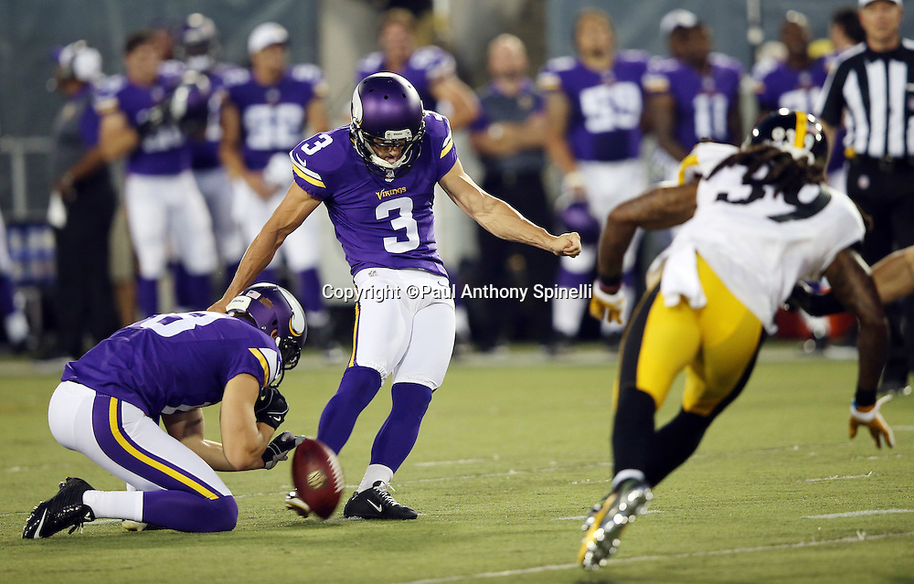 Minnesota Vikings kicker Blair Walsh (3) misses a field goal attempt during the 2015 NFL Pro Football Hall of Fame preseason football game against the Pittsburgh Steelers on Sunday, Aug. 9, 2015 in Canton, Ohio. The Vikings won the game 14-3. (©Paul Anthony Spinelli)
