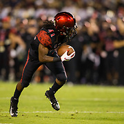 22 September 2018: San Diego State Aztecs wide receiver BJ Busbee (41) catches a 24 yard pass for a touchdown in the second quarter giving the Aztecs a 17-3 lead. The San Diego State Aztecs beat the Eastern Michigan Eagles 23-20 in over time at SDCCU Stadium in San Diego, California.