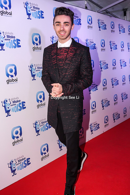 Nathan Sykes attend gala night hosted by Global Radio to support its charity Make Some Noise. The charity awards grants to projects across the country to help children and young people affected by illness, disability, bereavement or lack of opportunity on 24th November 2016,London,UK. Photo by See Li