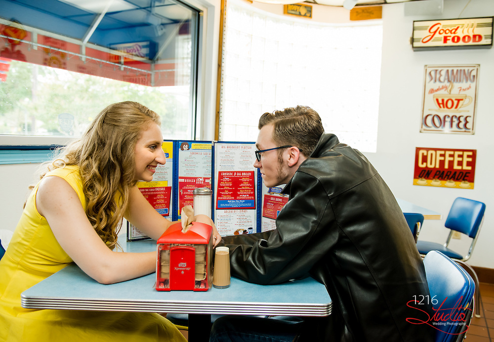 J. Paul & Claire Engagement Samples   Dot's Diner, Dance Studio, Audubon Park   1216 Studio Wedding Photography