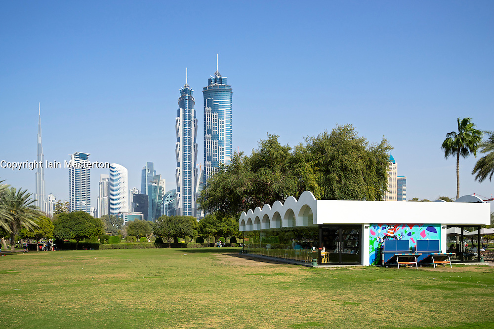 Library and cafe pavilion in Al Safa Park in Dubai United Arab Emirates