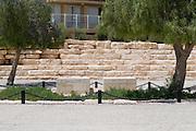 Israel, Negev, Kibbutz Sde Boker, the grave of David (left) and Pola (right) Ben Gurion. The Ben Gurion Heritage Institute in the background July 2008