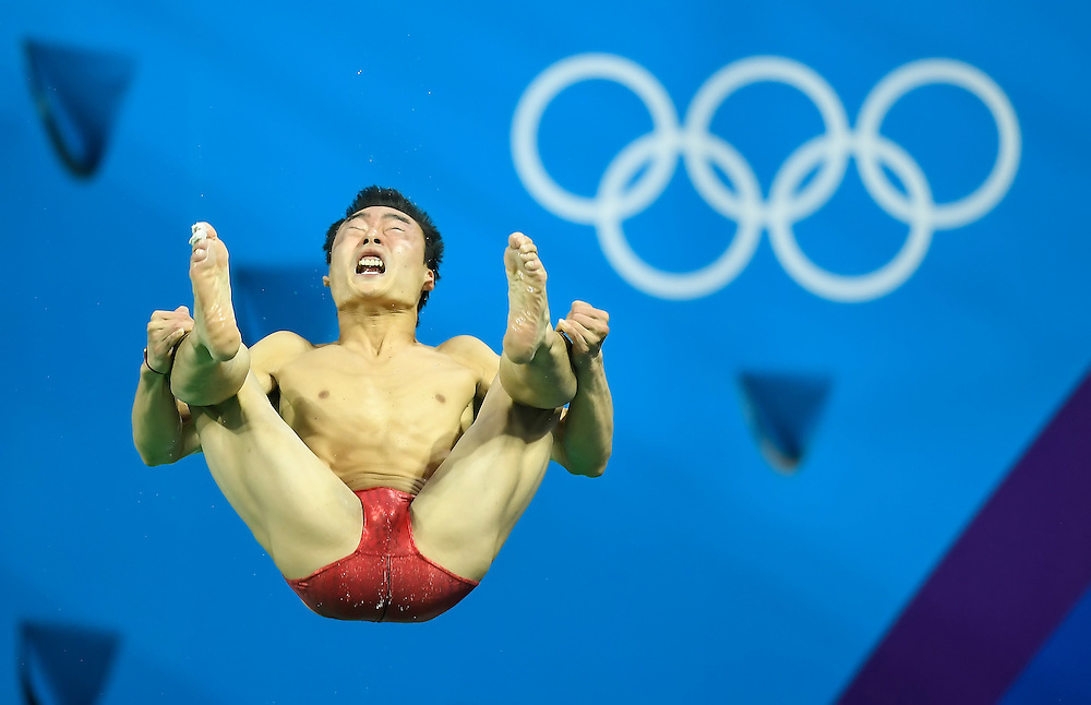 China's Kai Qin made his final dive as part of the men's synchronized 3m springboard final at the 2016 Summer Olympics Games in Rio de Janeiro, Brazil.