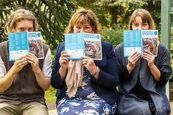 Pictured: Daniel Allison, Fiona Hyslop and Shona Cowie swap stories<br /> <br /> Fiona Hyslop MSP. Cabinet Secretary for Culture, Tourism & External Affairs today previewed the 2018 festival, which looks at the future of storytelling in Scotland, nurturing local roots, reaching out globally and celebrating Celtic traditions shared by Scotland and Ireland. During her preview Ms Hyslop met festival director Donald Smith, David Mitchell of Scotland's Garden Scheme, and storytellers Miriam Morris and Daniel Allison.